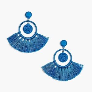 NWT JCREW FAN TASSEL EARRINGS BLUE